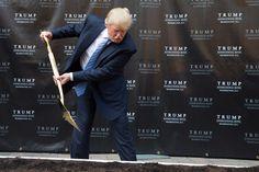 PsBattle: Donald Trump using a shovel to dig.
