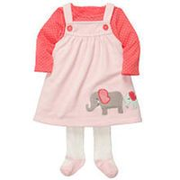 Carter's Girls Elephant 3 Piece Long Sleeve Top, Embroidered Microfleece Jumper and Knit Tights with Foot Art Set