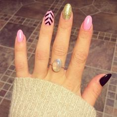 Pink, Black and Gold Glitter Acrylic Nails.