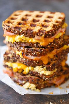 Ham Egg and Cheese Grilled Cheese - Waffle Maker - Ideas of Waffle Maker - The must-have breakfast sandwich for all mornings made easily in your waffle-maker! You can make this ahead of time too! Blueberry Sweet Rolls, Fathers Day Brunch, Best Brunch Recipes, Breakfast Recipes, Pancake Recipes, Breakfast Ideas, Waffle Maker Recipes, Eggs In Waffle Maker, Waffle Sandwich