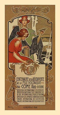 1898 Italian Style Art Nouveau Centenary A. Volta vertical banner by aapshop