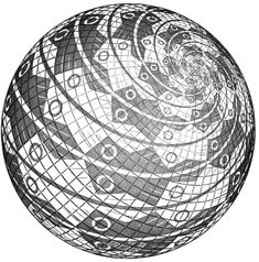 Escher art   Sphere Surface with Fishes - M.C. Escher - WikiPaintings.org