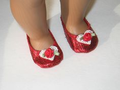 American Girl Doll Shoes in Shiny Red