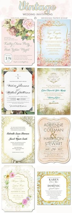 Vintage wedding ideas - vintage wedding invittaions / http://www.deerpearlflowers.com/wedding-paper-divas-wedding-invitations/