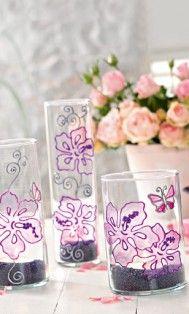lente kriebels, fris en vrolijk bloemen glaswerk, met glass painters van marabu