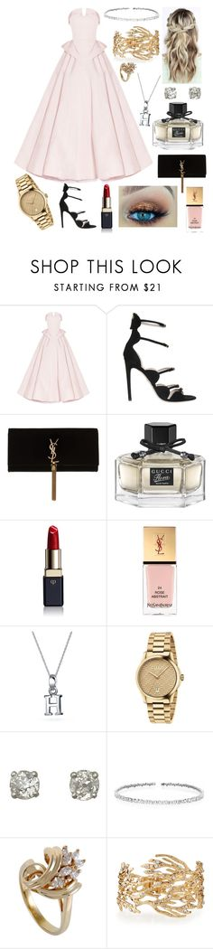 """""""Tenue swag"""" by lucielecuyer ❤ liked on Polyvore featuring Christian Siriano, Giambattista Valli, Yves Saint Laurent, Gucci, Clé de Peau Beauté, Bling Jewelry, Suzanne Kalan and Lydell NYC"""