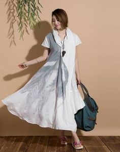 Irregular loose linen roll dyeing ethnic style dress / by dreamyil by zhang xinhu Trench Coat Style, Dress Link, Short Sleeve Dresses, Dresses With Sleeves, Loose Knit Sweaters, Pretty Shirts, Linen Tunic, Linen Dresses, Ethnic Fashion