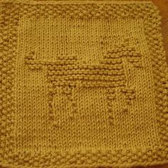 Horse Knit Dishcloth Pattern This knit dishcloth pattern shows a picture of a prancing horse. The horse is a solid design and is facing to the right. His head is held high and front leg and tail are raised and he appears to be prancing.