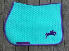 Aqua and Purple with Bling Custom English Saddle Pad at thebarncloset.com