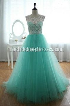 Celebrity Inspired Mint A-Line Prom Gonw Evening Dress - TheCelebrityDresses