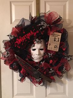 Excited to share this item from my shop: Michael Myers wreath/Halloween wreath/Halloween decor/Halloween movie wreath/Michael wreath/Boogeyman wreath camping, wreaths, bestfriend ideas, halloween Scary Halloween Wreath, Dollar Tree Halloween, Hallowen Costume, Fete Halloween, Cheap Halloween, Halloween Movies, Halloween Horror, Diy Halloween Decorations, Holidays Halloween