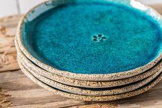 Decoratieve dessert platen, kleine keramische turquoise platen, SET van vier, Housewarming cadeau, keramische serveren gerecht, aardewerk serviesgoed, aardewerk schotel, keramische dessert schotel, rustieke platen, MADE TO ORDER ***************** Deze eenvoudige maar opvallende