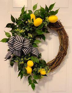 Summer wreath lemon wreath lemon decor summer front door wreath grapevine wreath farmhouse wreath E Front Door Decor, Wreaths For Front Door, Door Wreaths, Ribbon Wreaths, Yarn Wreaths, Burlap Wreaths, Floral Wreaths, Front Doors, Entrance Decor
