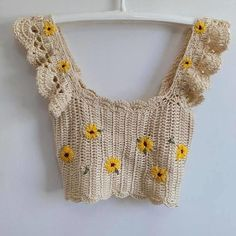 Crochet Top Outfit, Crochet Crop Top, Crochet Clothes, Diy Clothes, Crochet Tops, Crochet Bikini, Handmade Clothes, Mode Crochet, Crochet Daisy