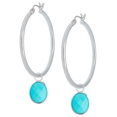 White Gold Medium Hoops with semi-precious Rock Quartz charms White Gold Hoops, Turquoise Bracelet, Charms, Quartz, Pearl Earrings, Medium, Bracelets, Silver, Rock
