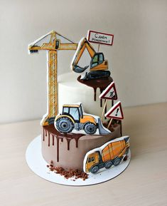 New birthday cake drawing fondant Ideas Buttercream Cake, Fondant Cakes, Engineering Cake, Cookie Drawing, Digger Cake, Baby Birthday Cakes, Character Cakes, Dream Cake, Cakes For Boys