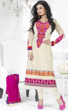 White Embroidered Georgette Full Sleeve Churidar Salwar Suit 24316