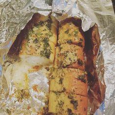 Dinner ... chicken stuffed French bread.