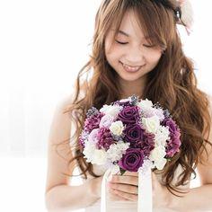 プリザーブドフラワーのブーケ ラヴォンドです(*^_^*) #wedding #ブーケ #bouquet #ウエディングブーケ #プリザーブドフラワー #St.Mary's #オーダーメイド