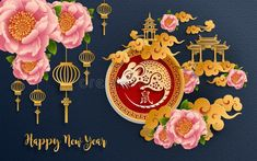 Happy chinese new year 2020 Rat zodiac sign,flower and asian elements with gold paper cut art craft style on color Background for greetings card, invitation. (Translation : Happy new year) Chinese New Year Zodiac, Chinese New Year Design, Chinese New Year Card, Chinese New Year Crafts, New Year's Crafts, Arts And Crafts, Card Crafts, Gold Paper, Paper Art