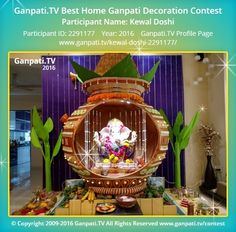 Kewal Doshi Page on Ganpati.TV where all Ganpati festival decoration pictures and videos are shared. Kalash Decoration, Mandir Decoration, Ganpati Decoration At Home, Ganapati Decoration, Wedding Stage Decorations, Diwali Decorations, Festival Decorations, Decorating With Pictures, Decoration Pictures