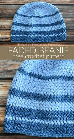 Faded Beanie Crochet Pattern - For the Faded Beanie Crochet Pattern I used one of my favorite acrylic yarns, Lion Brand Jean's yarn. It is so, so soft and is perfect for hats. # single crochet beanie Faded Beanie Crochet Pattern (CAL for a Cause) Easy Crochet Hat, Basic Crochet Stitches, Crochet Basics, Crochet Scarves, Crochet Yarn, Free Crochet, Crocheted Hats, Crochet Clothes, Beanie Pattern Free