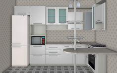 Маленькая кухня с газовой колонкой Викинг - размеры 2100 х 3300 мм
