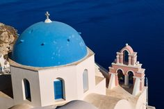 I love the roofs in Santorini! Round and turquoise! Greek Sea, Aqua, Turquoise, Santorini, Google Images, Places Ive Been, Taj Mahal, Greece, To Go