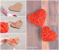 Yarn Wrapped in Heart Crafts - Valentine's Day Crafts - Simple, Light and Funny valentinstag deko valentinstag grundschule valentinstag kinder valentinstag mann valentinstag senioren Kids Crafts, Valentines Day Crafts For Preschoolers, Valentine Crafts For Kids, Valentines Day Decorations, Valentines Diy, Toddler Crafts, Preschool Crafts, Diy And Crafts, Kids Diy