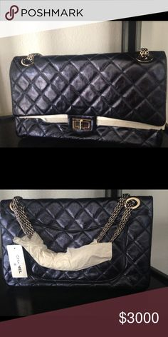 Chanel metallic reissue, 228 NWT CHANEL metallic reissue in navy blue.  In perfect condition with tags still attached.  This is a statement piece with typical Chanel quality. CHANEL Bags Shoulder Bags