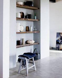 live edge wood shelves for Aim's room Timber Shelves, Built In Shelves, Built Ins, Recessed Shelves, Open Shelves, Rustic Shelves, Floating Shelves, Corner Shelves, Alcove Shelving