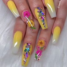 15 Cute Nail Art Designs to Welcome Summer – Nails Cute Nail Art Designs, Beautiful Nail Designs, Acrylic Nail Designs, Summer Acrylic Nails, Best Acrylic Nails, Summer Nails, Dope Nails, Bling Nails, Rhinestone Nails