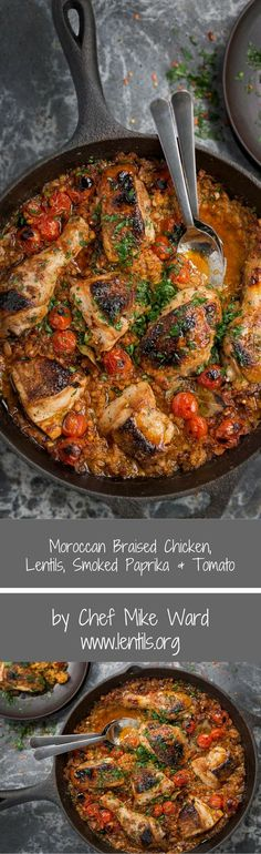Moroccan Braised Chicken, Lentils, Smoked Paprika & Tomato Moroccan Braised Chicken & Lentils, Smoked Paprika, Tomato by Chef Mike Ward - Recipe at Morrocan Food, One Skillet Meals, Braised Chicken, Cooking Recipes, Healthy Recipes, Healthy Food, Middle Eastern Recipes, Mediterranean Recipes, Lentils