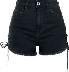 Urban Classics - Ladies Highwaist Denim Lace Up Short - Girls hotpants - black - Size: 29 Denim And Lace, Streetwear, Hot Outfits, Edgy Outfits, Hot Pants, Sexy Jeans, Short Sexy, 80s Fashion, Fashion Outfits