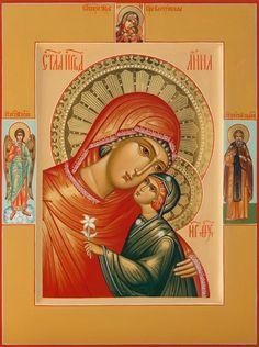 Святая праведная Анна, на полях: Пресвятая Богородица «Корсунская», Ангел Хранитель, прп. Сергий Радонежский