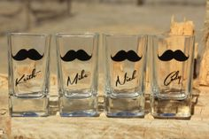 7 Personalized shot glasses. Great for bachelor and wedding parties. Custom mustache shot glasses.