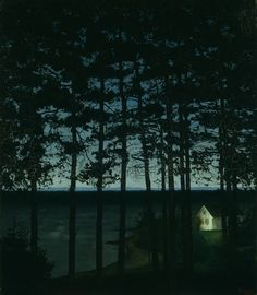 Harald Sohlberg  Norwegian, 1869-1935, Fisherman's Cottage.  The silhouettes of the trees agains the sky really drew me to this one.  Then I was really hooked with this glowing mysterious white cottage.  It has this great green glow around it.