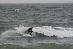 Surfing in October in Nova Scotia.
