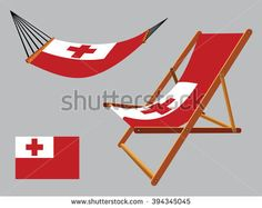 tonga hammock and deck chair set against gray background, abstract art illustration