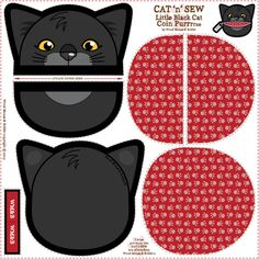 Black_Cat_Coin_Purrse_02 fabric by woodmouse