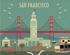 Modern San Francisco Ferry Building Skyline - Poster Print  Wall Art for Home, Office, Child's Nursery - Top Seller - style-E8-O-SF13. $26.00, via Etsy.