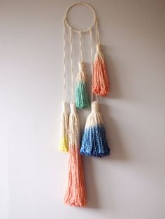Hey, I found this really awesome Etsy listing at http://www.etsy.com/listing/160725045/tassel-dream-wall-hanging-rainbow