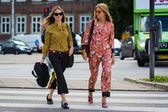 Marie Heyman in a For Restless Sleepers pajama set and Emili Sindlev in Gucci mules