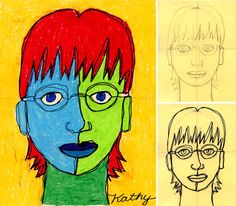 Portrait Drawing For Kids Self Portrait Line Drawing Plus Oil Pastels Art Projects For Kids - Drawing Pencil Sketch Oil Pastel Crayons, Oil Pastel Art, Oil Pastels, Art Journal Pages, Drawing For Kids, Line Drawing, Smash Book, 4th Grade Art, Art Lessons Elementary