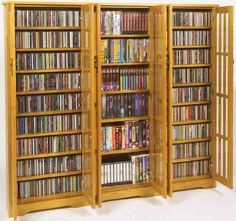 Leslie Dame M 1431 High Capacity Inlaid Glass Mission Style Multimedia  Storage Cabinet,