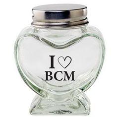 Glass Heart Jar / Empty