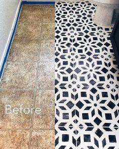 Linoleum floor renovation ideas on a budget using easy-to-use DIY tile stencil p. - Linoleum floor renovation ideas on a budget using easy-to-use DIY tile stencil patterns from Cuttin - Painted Bathroom Floors, Bathroom Floor Tiles, Painted Floors, Bathroom Cabinets, Bathroom Faucets, Painting Linoleum Floors, Linoleum Flooring, Kitchen Flooring, Stenciled Floor