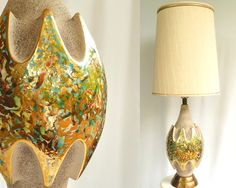 Mid Century Modern Large Table Lamp  //  Gold Atomic Abstract on Etsy, $96.15 CAD