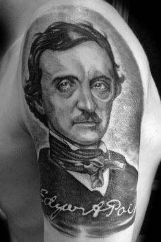 Edgar Allan Poe portrait tattoo