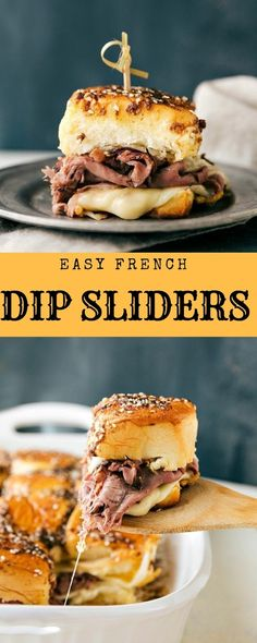 Easy French Dip Sliders - Burger Sandwich Taco And Burito - christmas Pizza Sandwich, Deli Sandwiches, Slider Sandwiches, Sliders, Sandwich Recipes, French Dip Sandwiches, French Sandwich, Easy Christmas Dinner, Christmas Dinners